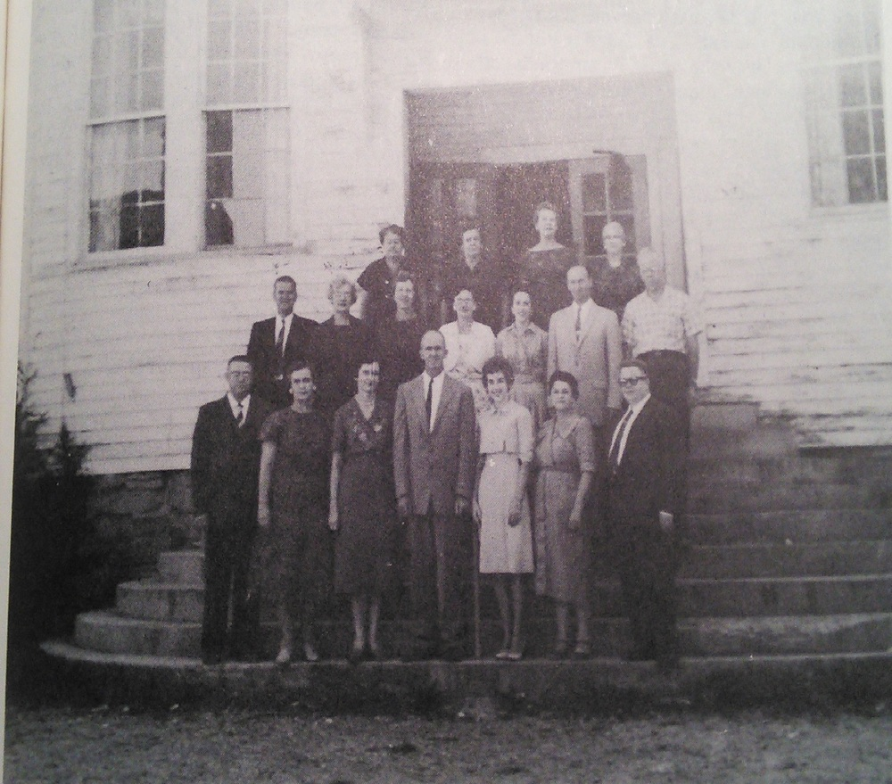 1961 Faculty on the steps of the original Clarkrange High School building. This would have been the last faculty in that building as the school moved to the new building in the fall of 1962.