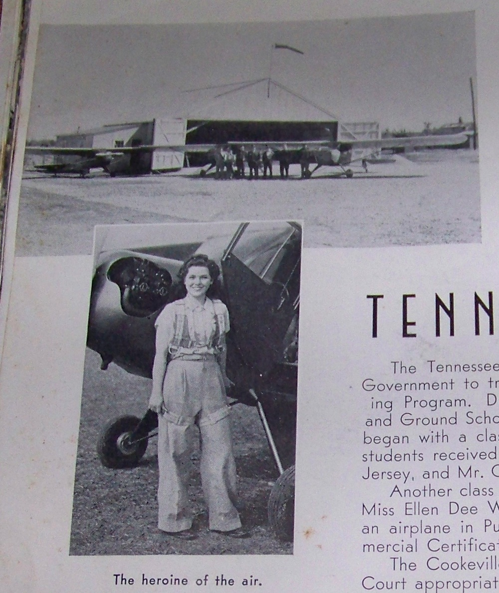 Ellen Dee Webb, First woman to solo a plane in Putnam County.  Note that she appears to be wearing a parachute.