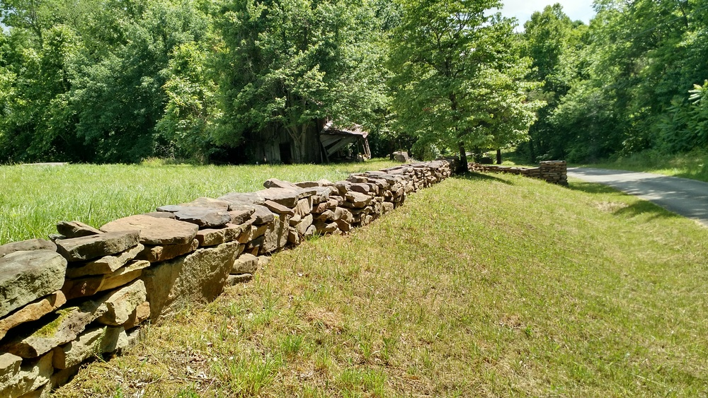 Rock Wall on Bear Hollow Road. The original Highland Freewill Baptist Church building stood on Bear Hollow Road; it burned in the 1970's.