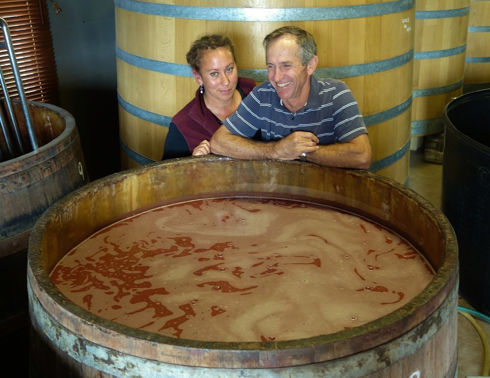 Rae and Drew this very morning with their 2017 Grenache rosé fizzing happily away with its own indigenous yeast ... it smells like fresh nougat! ... photo©Philip White