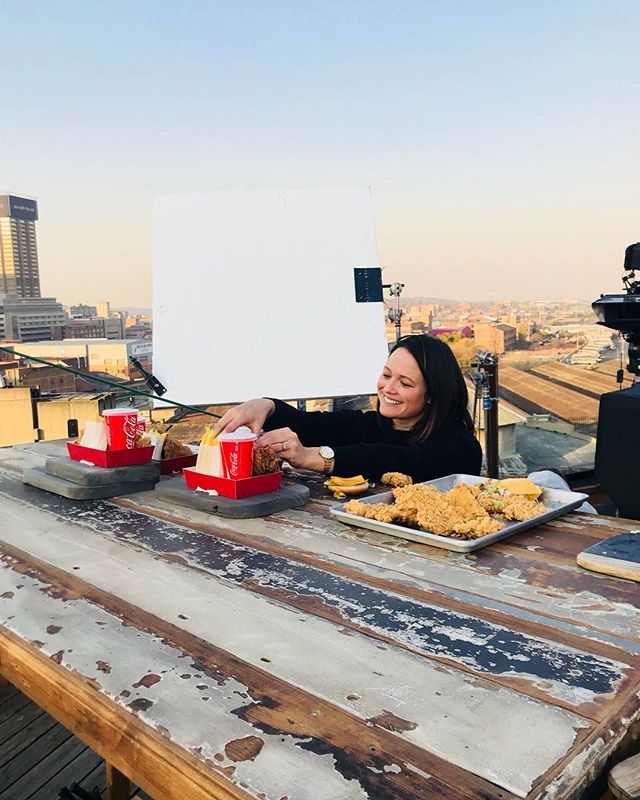 Behind the scenes shooting KFC last week on a rooftop in Joburg. Thanks Tam @platypuscapetown  for the pics! #foodstyling #foodstylist #tvc #foodstylistct #foodstylistjhb #foodphotography #fastfood #kfc