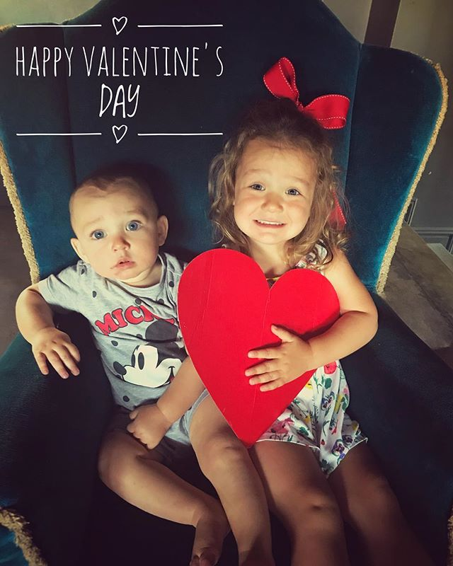 "Happy Valentine's Day ❤️ (this only took about 50 attempts, endless wriggling and lots of ""sit STILL!!"" 🤣) #lellarose2years #finlaycharles10months"