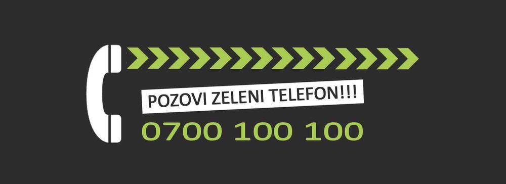 """Zeleni telefon  Projekat """"Zeleni telefon"""" je osmišljen da olakša komunikaciju korisnika i operatera otpada povećanjem svesti da iskorišćena flaša, limenka, papir, karton, staklo, nisu komunalni otpad, već sekundarne sirovine.  Informacije o operaterima koji prikupljaju reciklažni otpad možete dobiti pozivom naše Info Linije na broj 0700 100 100 ."""