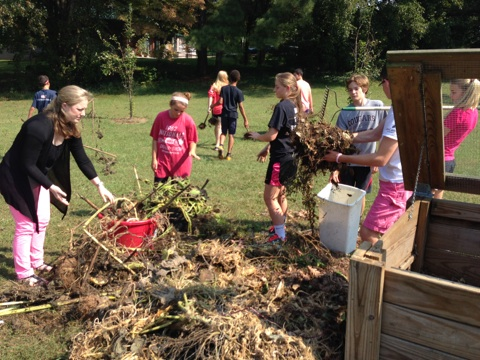 Ravenscroft middle school students visit Alliance monthly for garden workdays.
