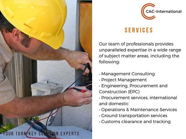 We're ready to provide our services. Contact us for more information.  #cac_international #solutions #consultants #management #construction #embassycontractor #makeready #hvac #freight #somalia #afghanistan #uae #turkey #usa #dodcontractor #expeditionary #baseoperations #baseops #hvac #maintenance #reliability #solutions #businesssolutions #governmentcontracting #governmentcontracts #govermentcontractor