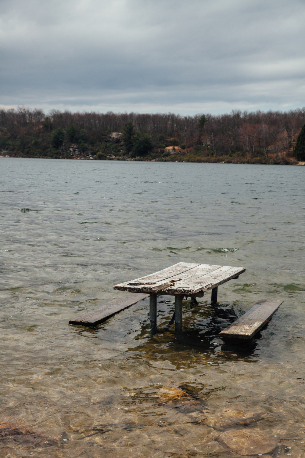 A picnic area, part of which is now in Crater Lake, New Jersey.