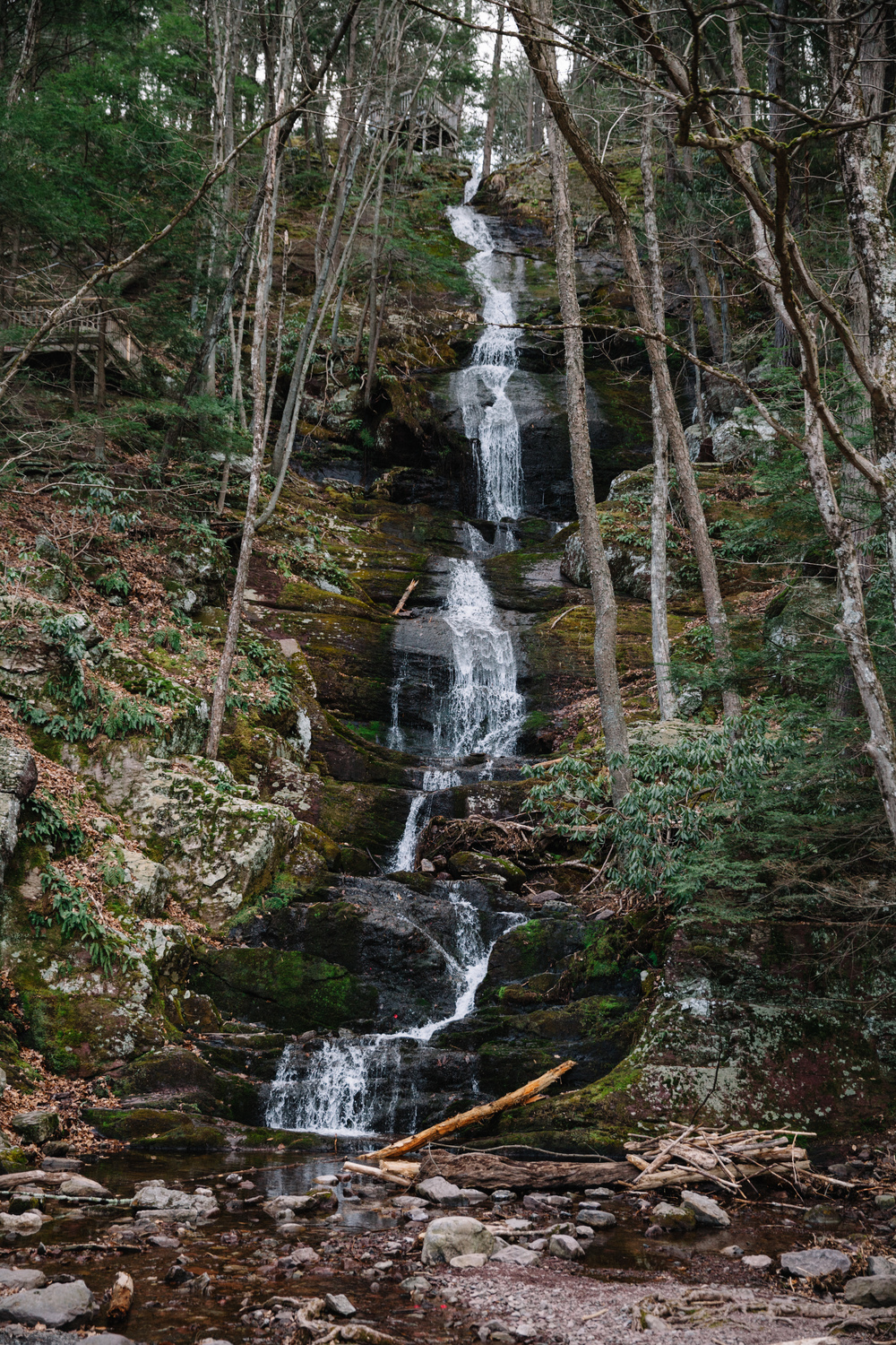 Buttermilk Falls is a natural, mossy waterfall in the Delaware Water Gap, New Jersey.