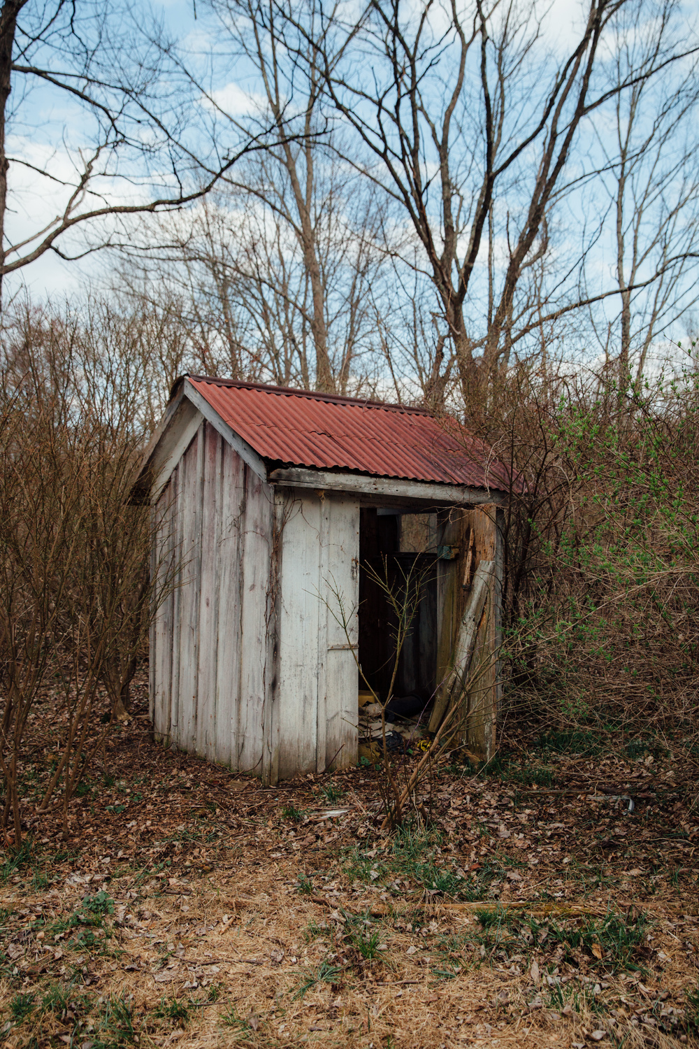 An old, abandoned outhouse structure in the Delaware Water Gap, New Jersey side.
