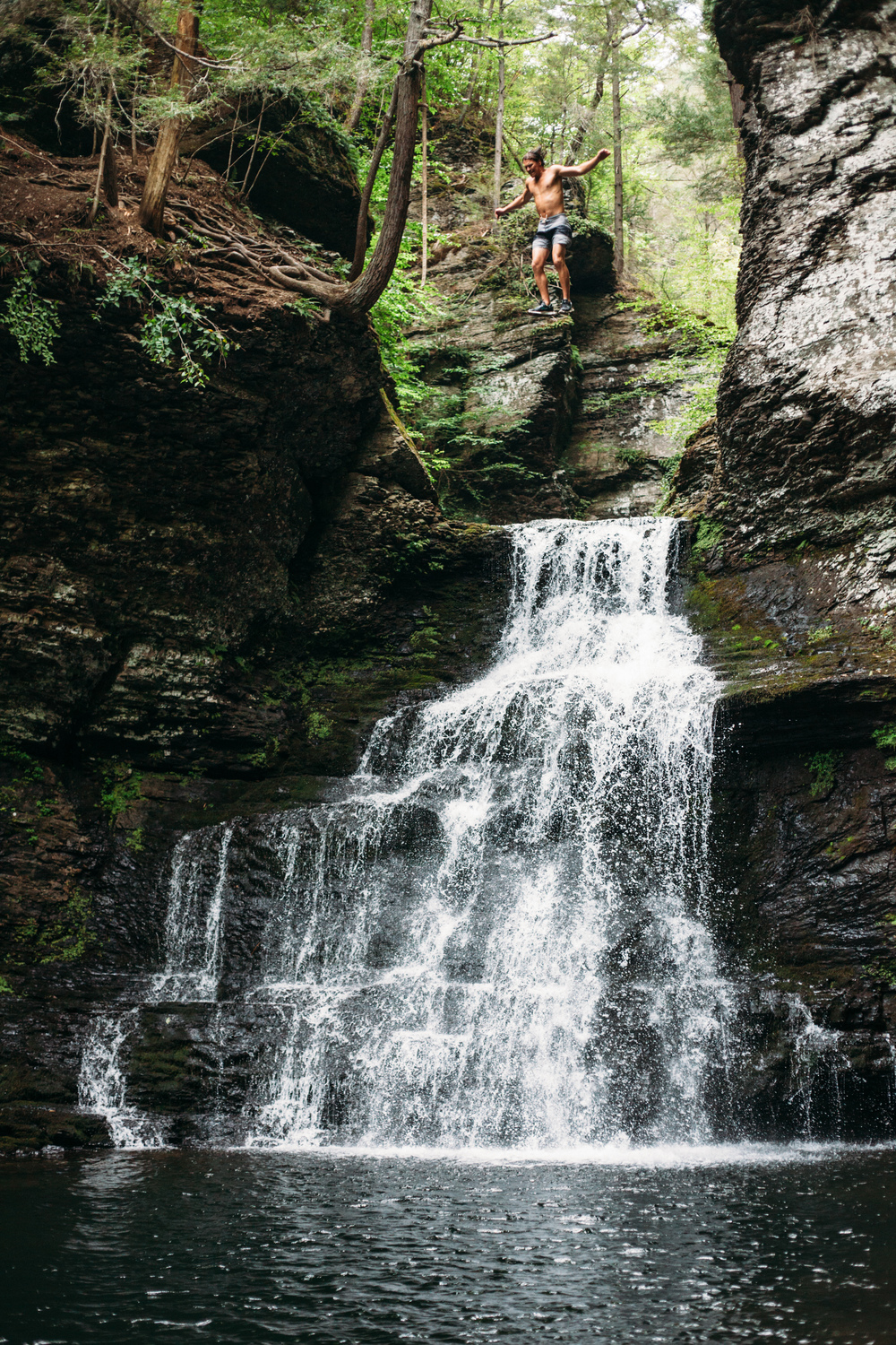A cool, refreshing cliff dive off of a waterfall in the Delaware Water Gap of Pennsylvania.