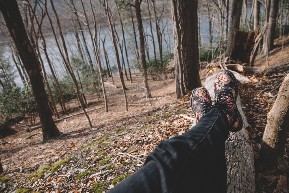 Taking a relaxing break against a tree trunk in the Delaware Water Gap, New Jersey.