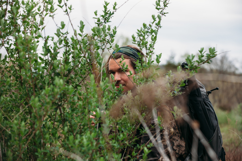 Hiding in brush, waiting for toms(older turkey) and jakes(young turkey), photography by Compass & Canvas.