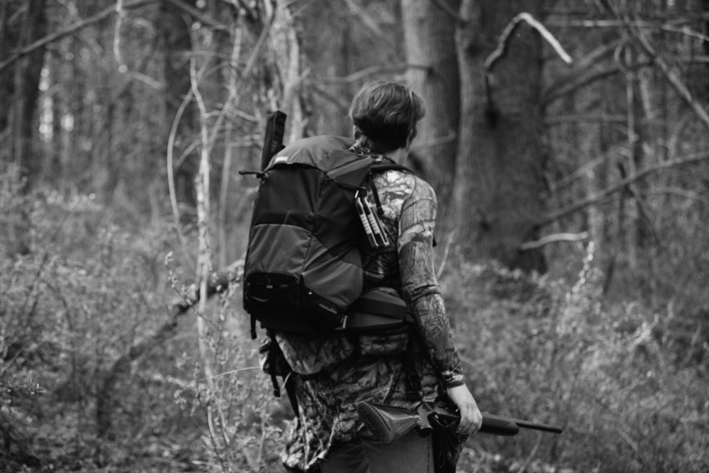 A hunter walks through the Delaware Water Gap in New Jersey looking for turkeys, photography by Compass & Canvas.