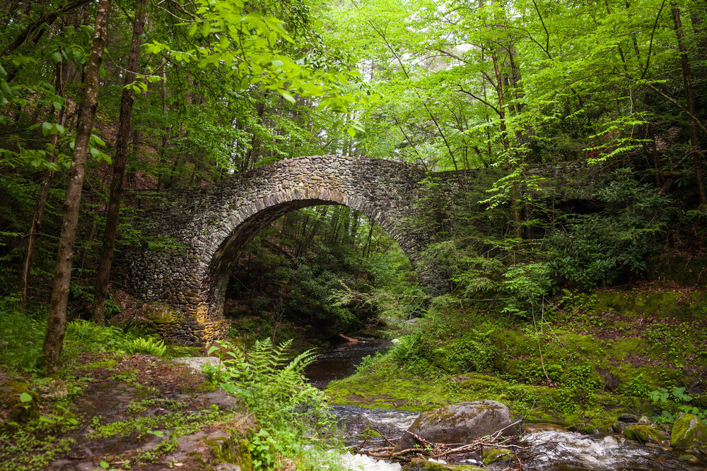 A historic stone built bridge in the Buck Hill Inn estate in Poconos, PA.