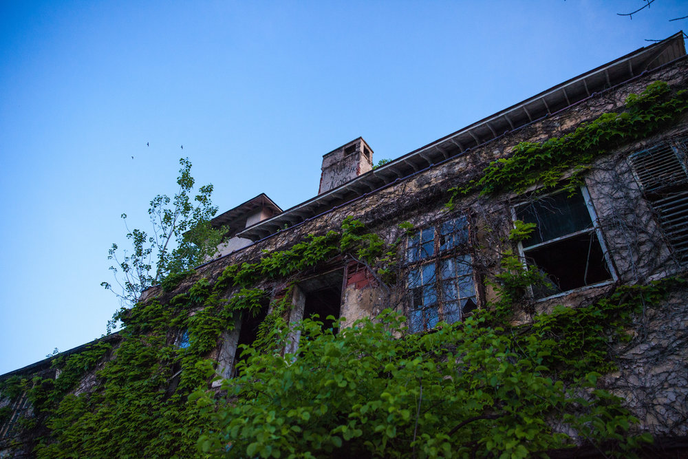 A close up view of the main structure at Buck Hill Inn estate in Poconos, Pennsylvania.