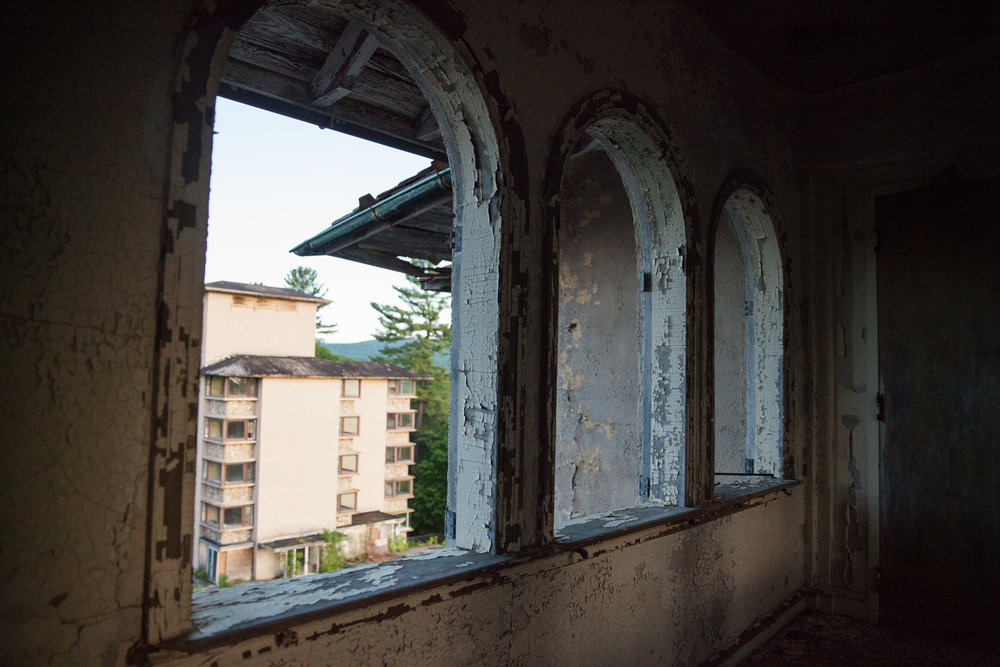 View from the abandoned observation deck of the Buck Hill Inn hotel, closed in the 1990's.