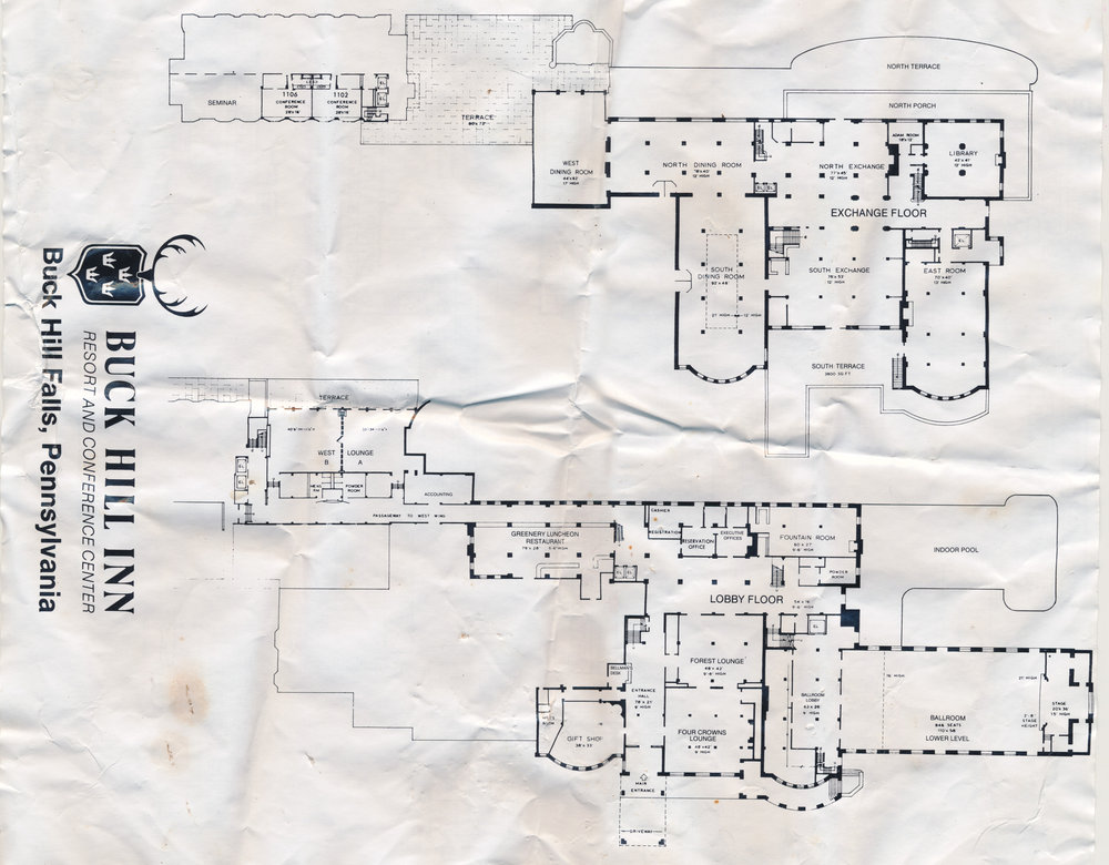 A scan of the Buck Hill Inn estate map.