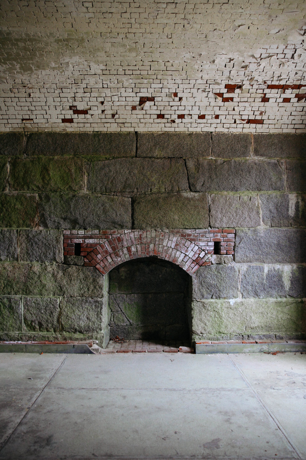 Interior of Fort Warren on Georges Island at the Boston Harbor Islands National Park.