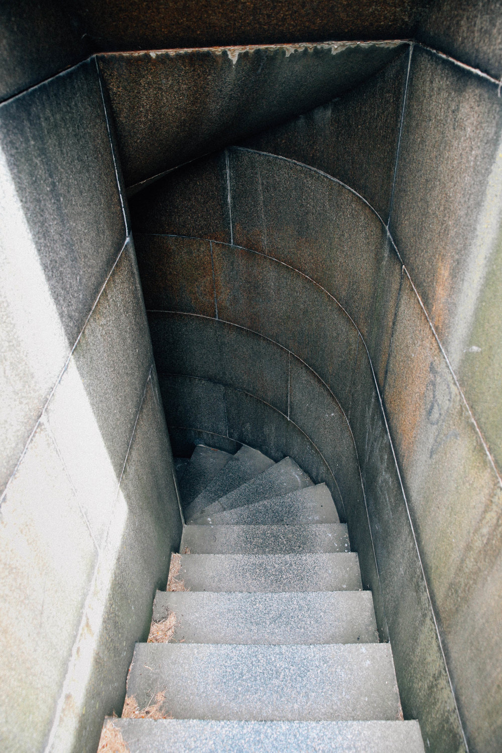 Descending stairs that go to nowhere inside Fort Warren on Georges Island.