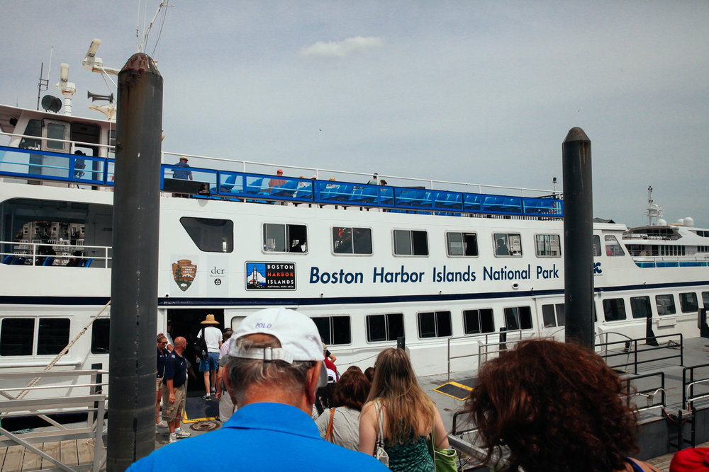 The Boston Harbor Island National Park ferry boat takes visitors to Georges Island, the first stop.