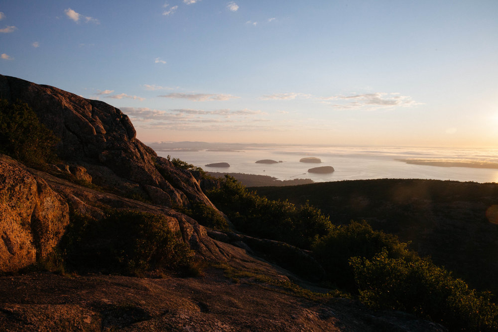 The side of Cadillac Mountain, overlooking the islands in Acadia National Park, Maine.