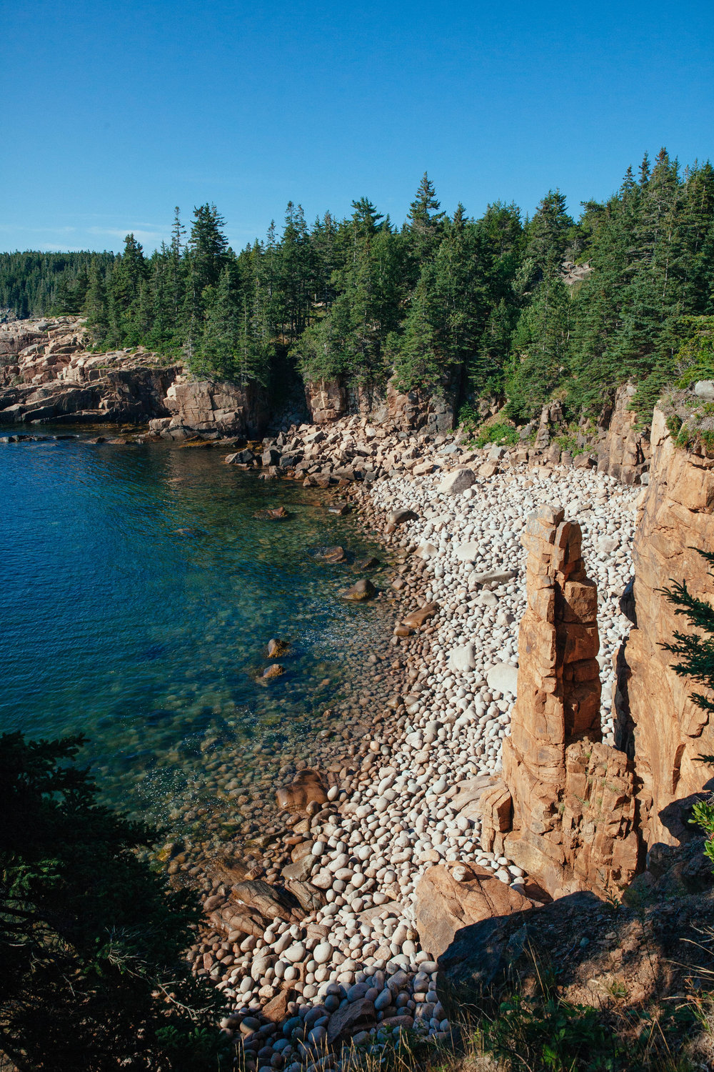 A gorgeous view of one of the rocky beaches in Acadia National Park in Mount Desert Island, Maine.
