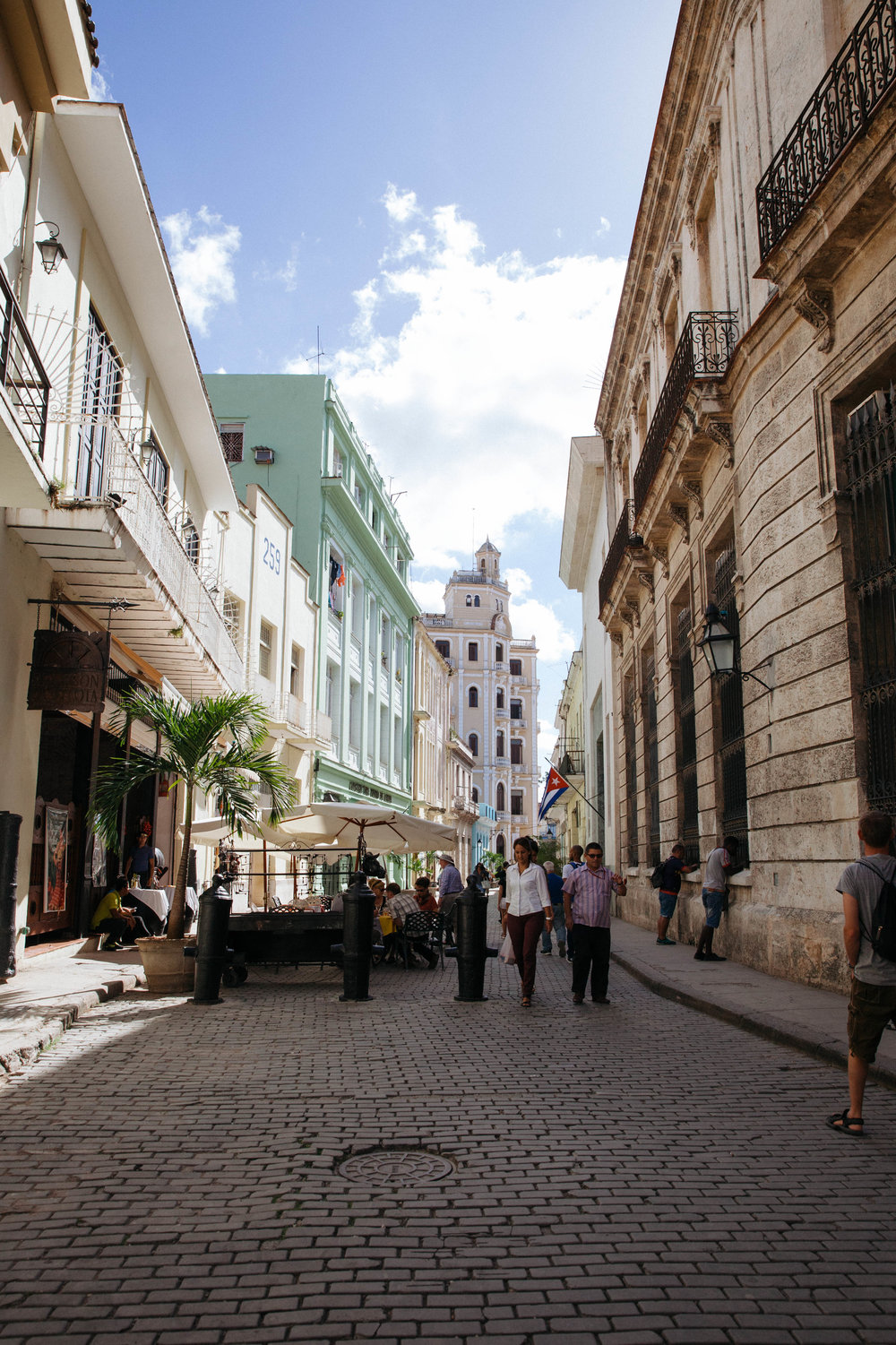 The cobblestone streets of Old Havana, newly renovated in Cuba.