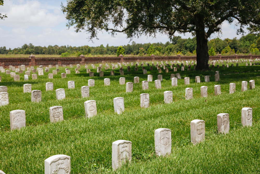 Near the British position lies a national cemetery with soldiers from a wide range of wars.