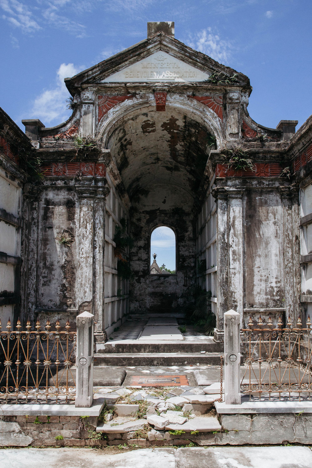 A dilapidated tomb in Metairie Cemetery in New Orleans.