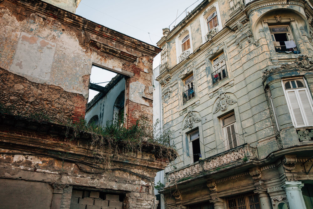 Renovated and run down buildings in Old Havana, or Habana Vieja in Cuba.