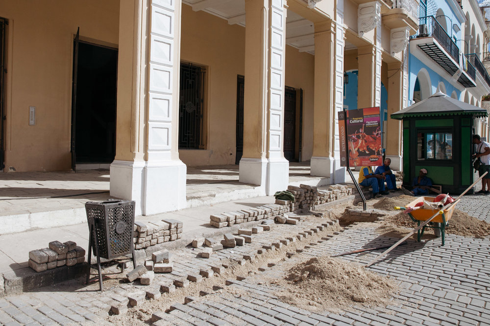 Construction for the restoration of Old Havana in Cuba in Plaza Vieja.