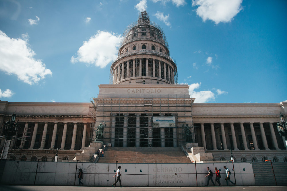 "The ""Capitolio"" restoration is partially funded by the American based Havana Heritage Foundation."