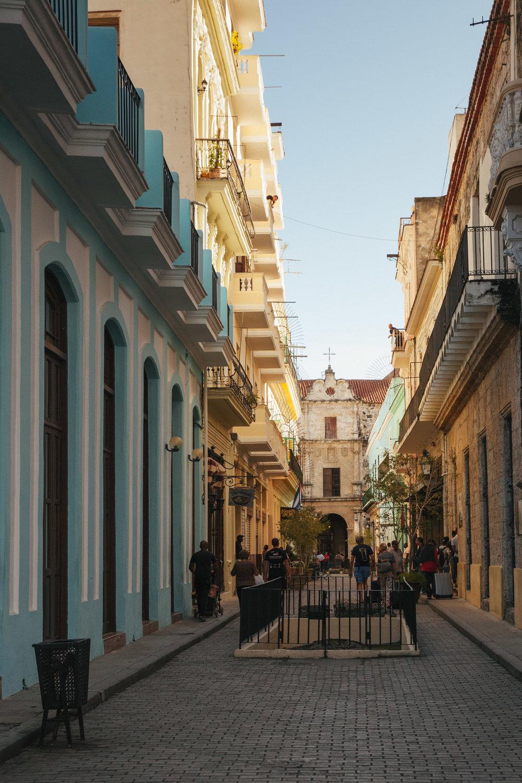 A renovated street in Old Havana, Cuba.