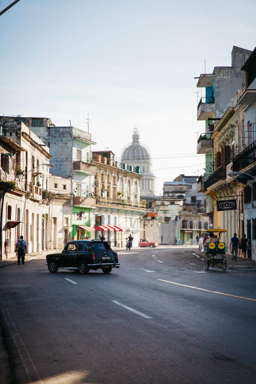 A view of El Capitolio in Habana Vieja, Cuba.