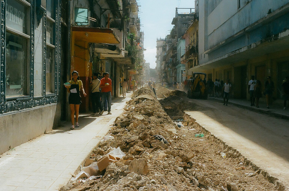 Construction occurs down the streets and walkways of Old Havana in Cuba.