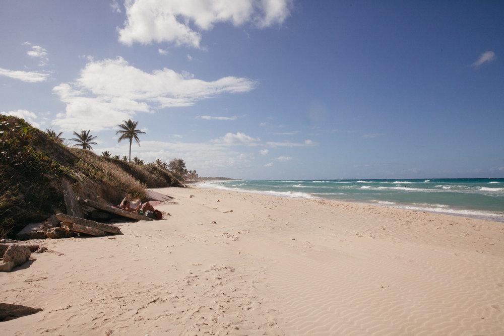 A near-empty beach on the outskirts of Havana in Cuba.