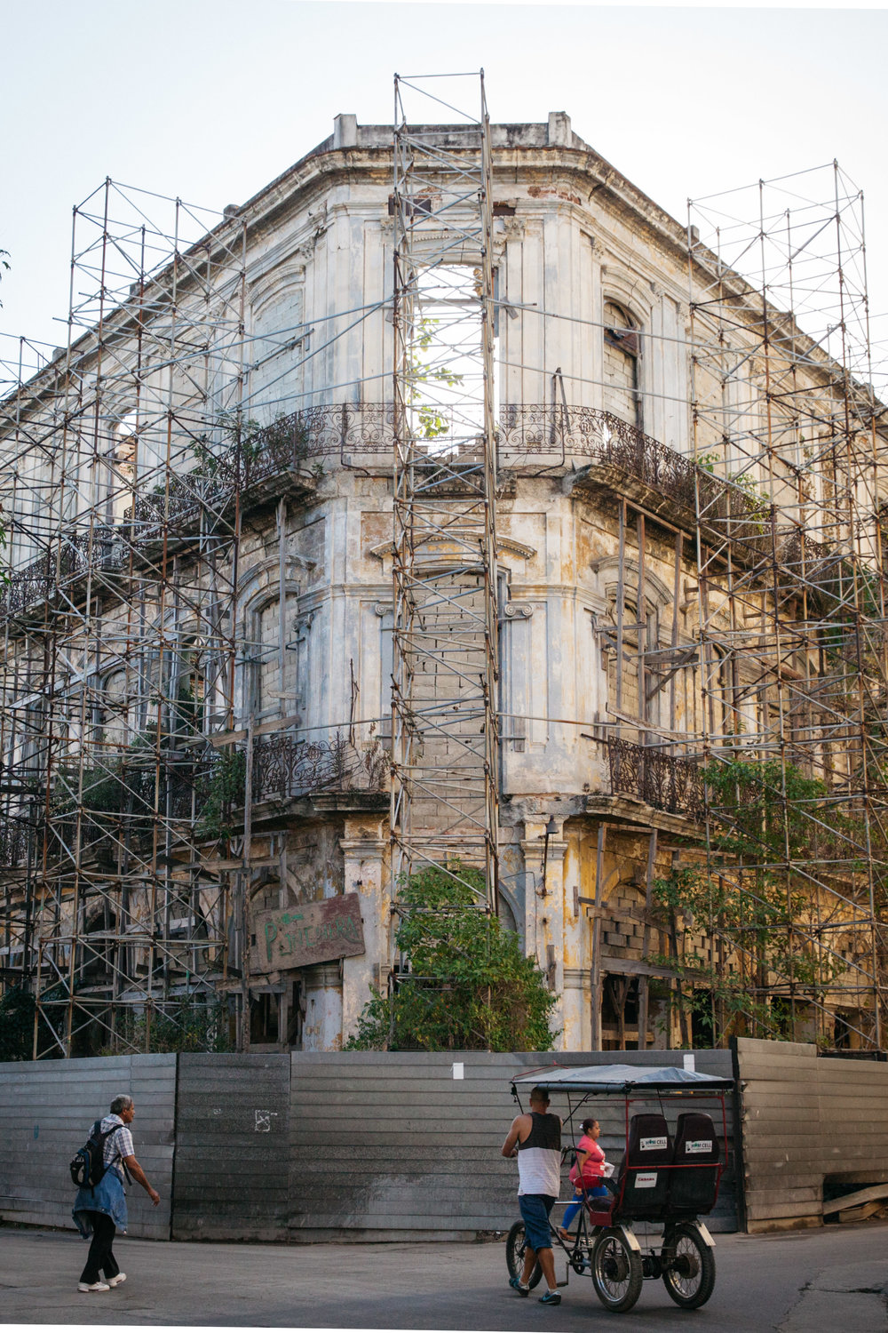 An old building being renovated in Habana Vieja, Cuba.