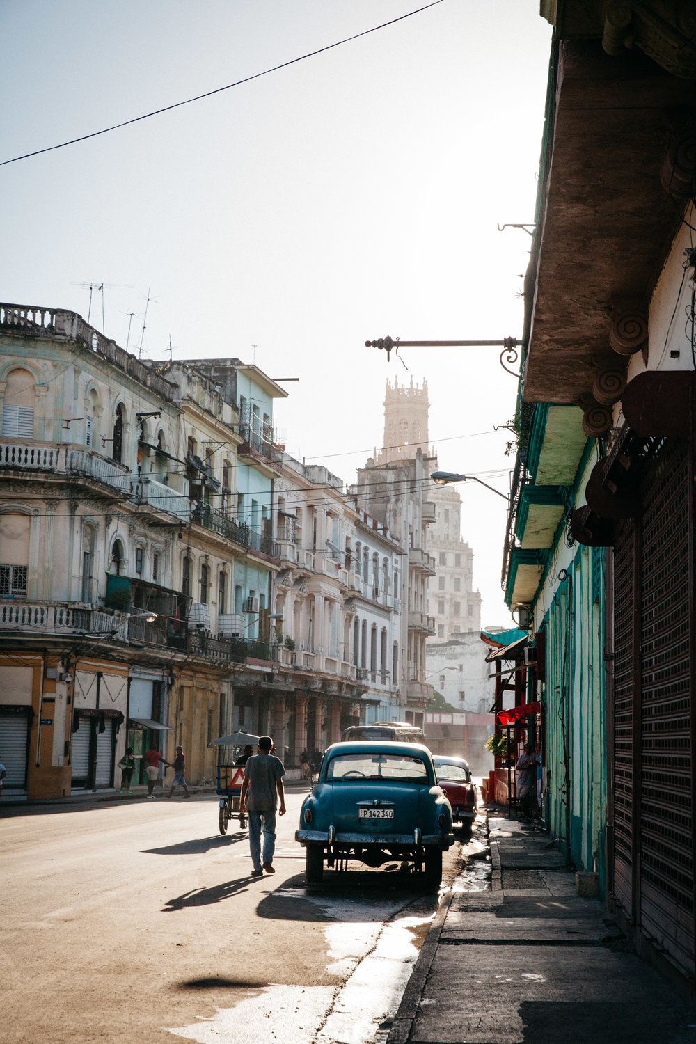 In Habana Vieja, Cuba by the Chinatown section with classic old cars.