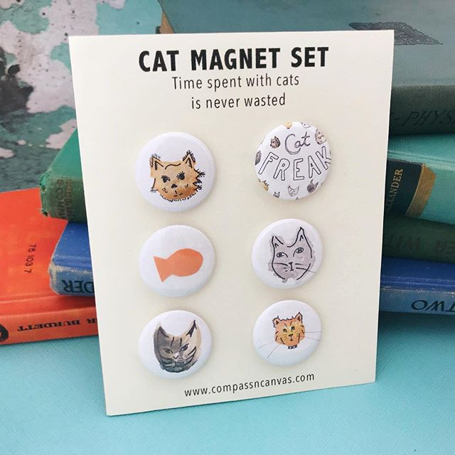 Excited to share the latest addition to my #etsyshop: Cat Freak Magnet Set 🙀 With super strong magnets, this set is a cute way to kawaii-ify your fridge!
