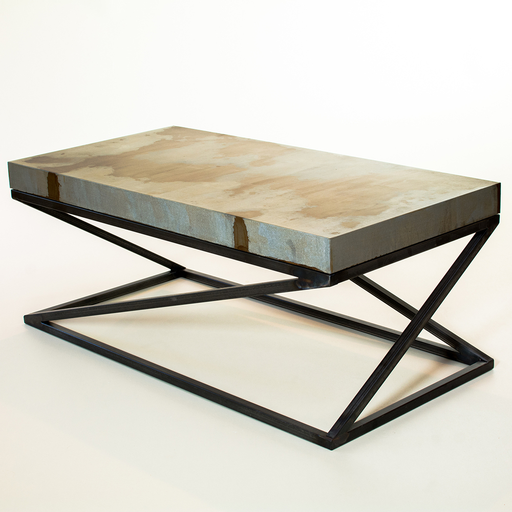 Fazlur Coffee Table - Blackened raw steel base with acid washed top by Andrew Higgins
