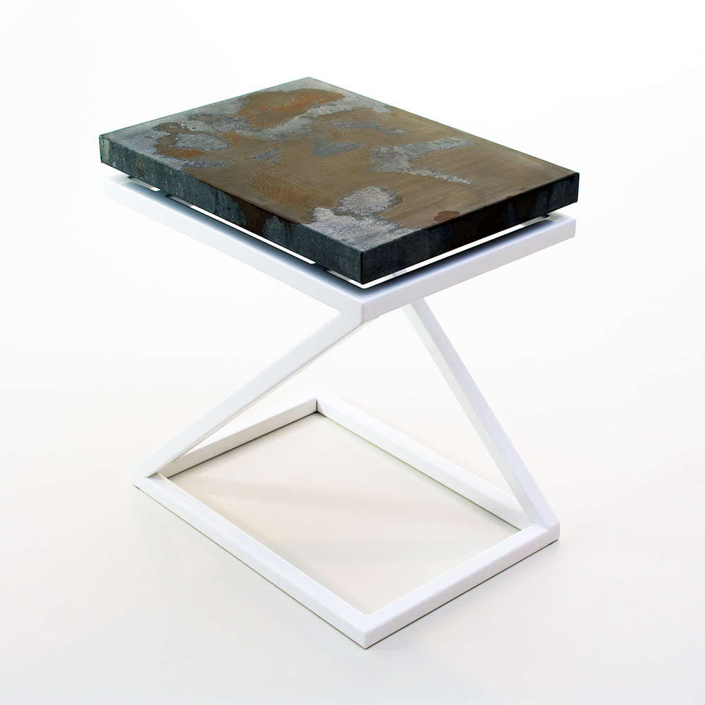 Fazlur Side Table - Powder coated white base with acid washed top by Andrew Higgins