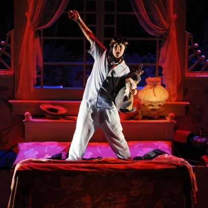 Kaleena Newman takes flight with The Velveteen Rabbit. Photo courtesy of Childsplay.