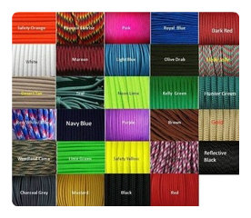 Twenty-seven colors. I'm not good at math, but I think that gives us about a gazillion combo options. Photo courtesy of Rand Hill Paracord.
