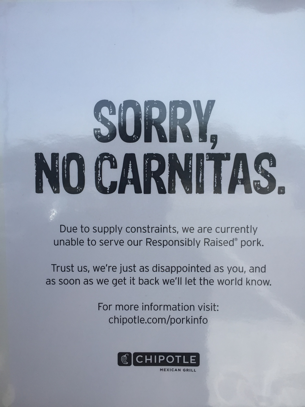 You may have seen this sign at Chipotle recently. Good for them for refusing to lower standards!