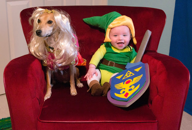 Happy Halloween! Roldy as Zelda and Lincoln as Link.
