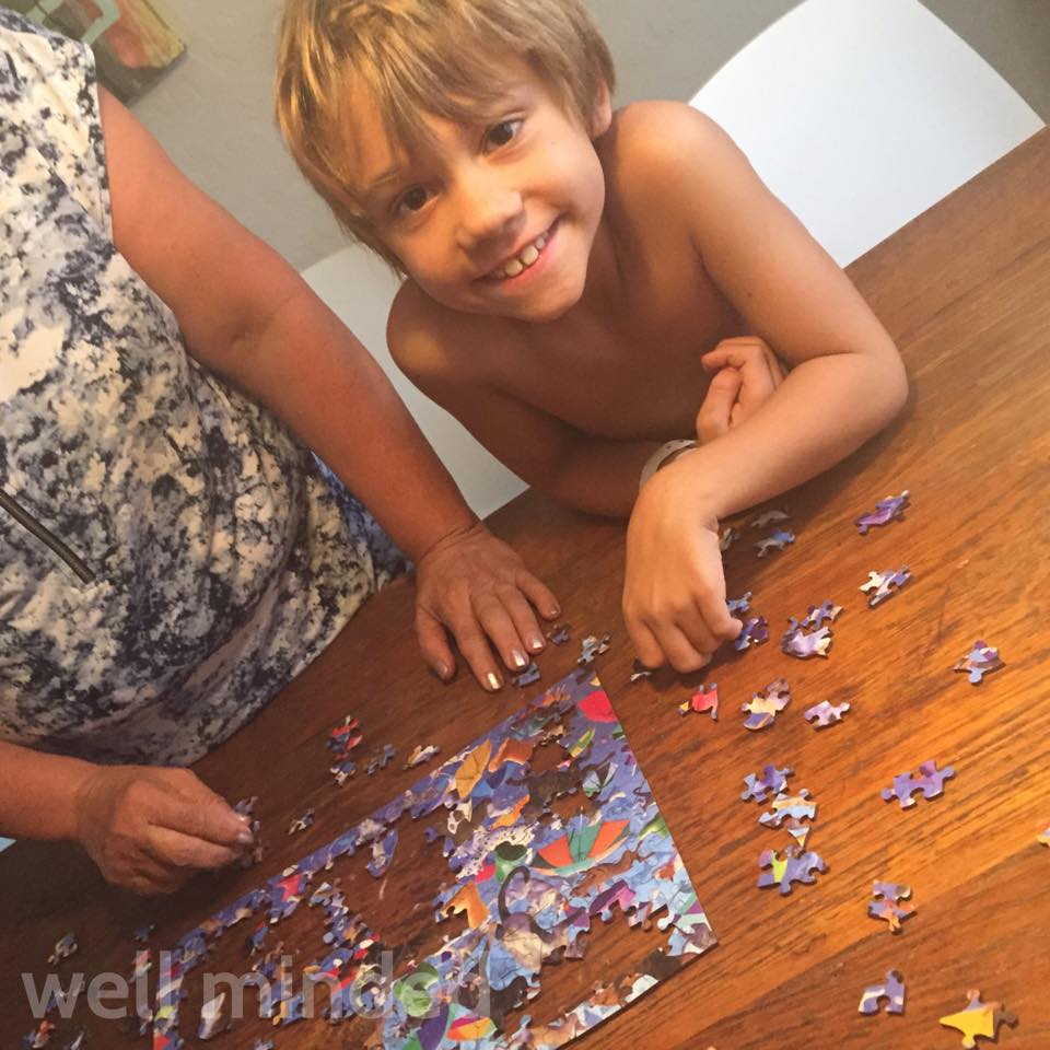 My son, Porter, enjoyed helping put the puzzle together. Please excuse his lack of attire...it was a hot day.
