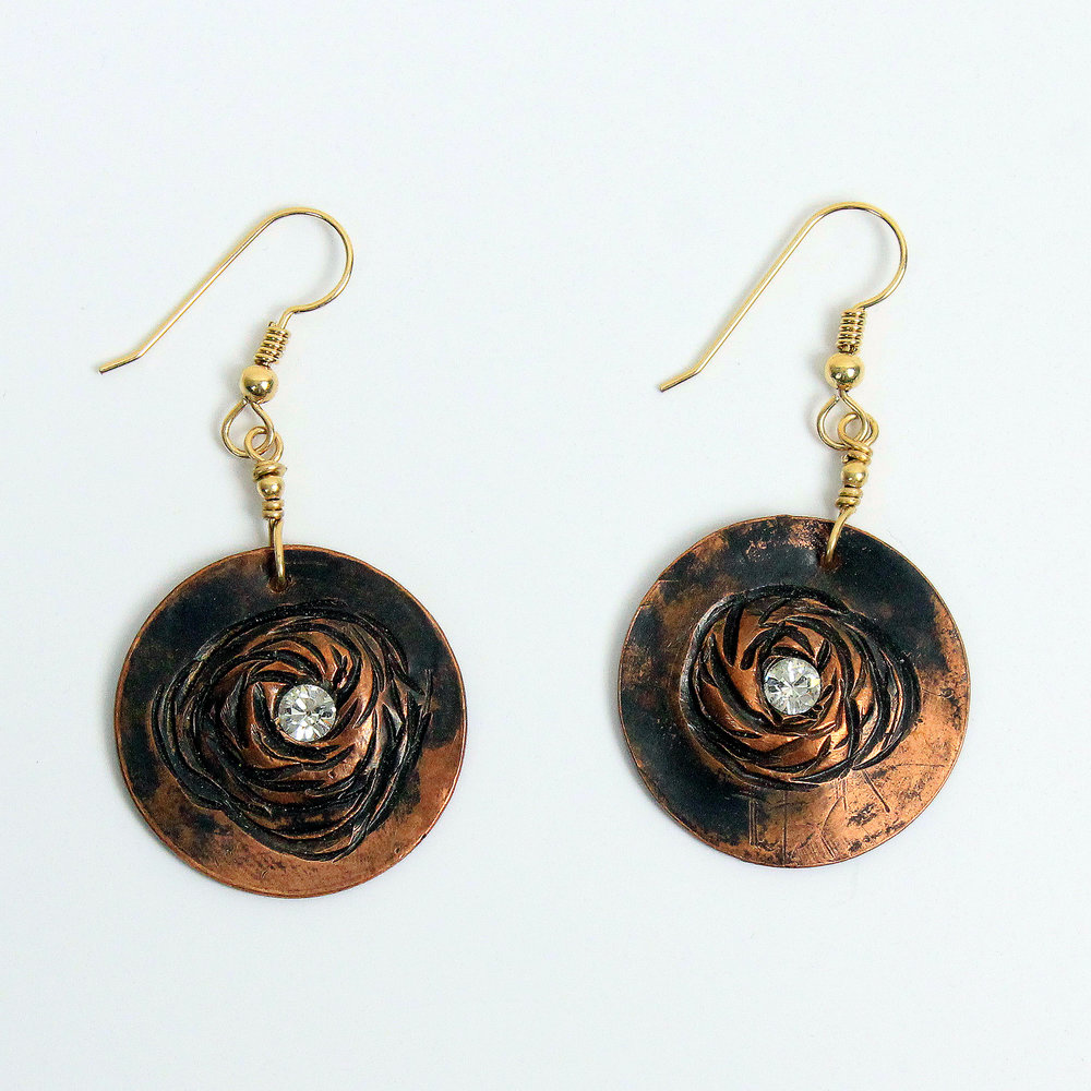 Copper Rosette Earrings