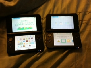 My Mario and Luigi 3DS and my son's, eager to accept the title.