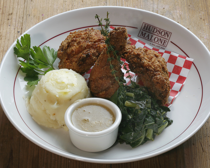 Buttermilk Picnic Chicken with Mashed Potatoes and Greens