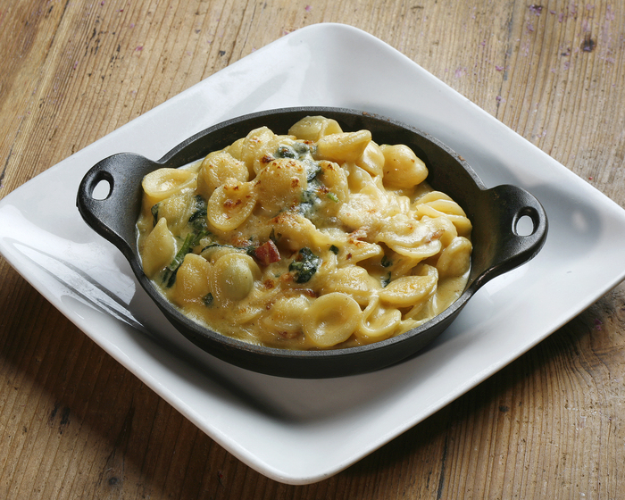 Skillet Mac and Cheese with Pancetta and Spinach