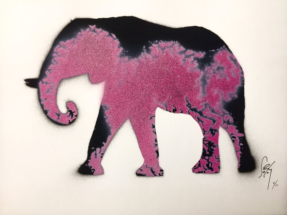Pink Elephant - multi-layer stencil. aerosol on paper